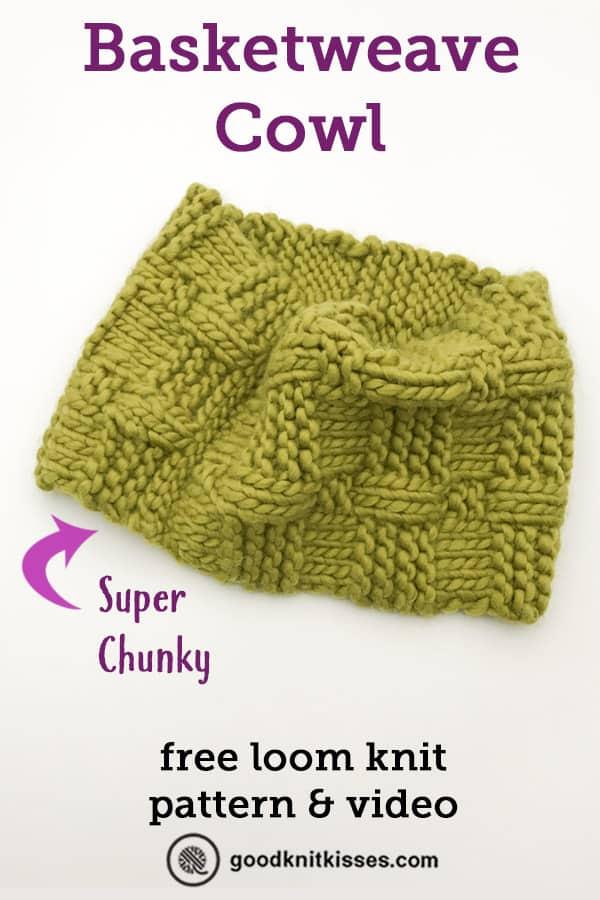 loom knit basketweave cowl pin image