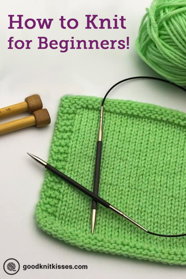 how to knit for complete beginners pin image