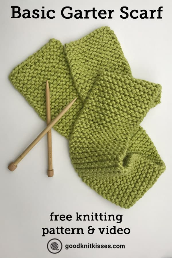 beginner knitting project basic garter scarf pin image