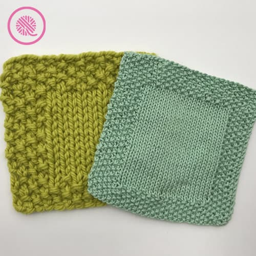 easy seed stitch washcloth with seed border shown in bulky yarn and medium weight yarn