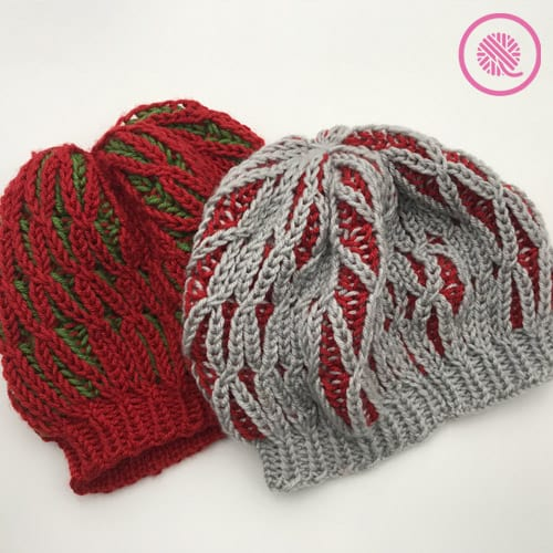 Twisted brioche slouchy tam shown in red/green and gray/red