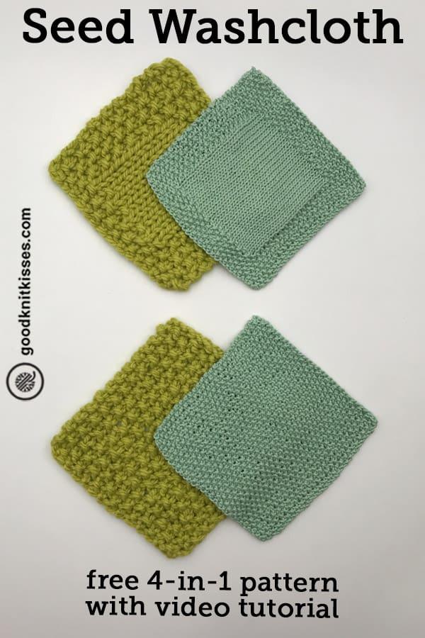 easy seed stitch washcloth pin image