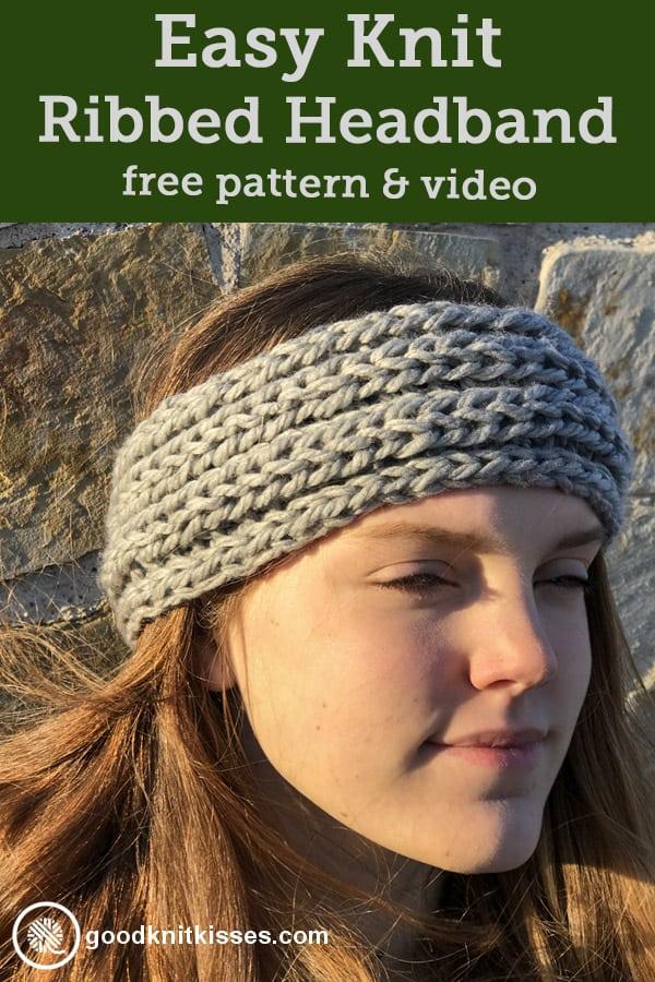 easy ribbed headband for beginner knitters pin image