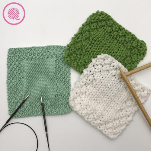 moss stitch washcloths with moss border