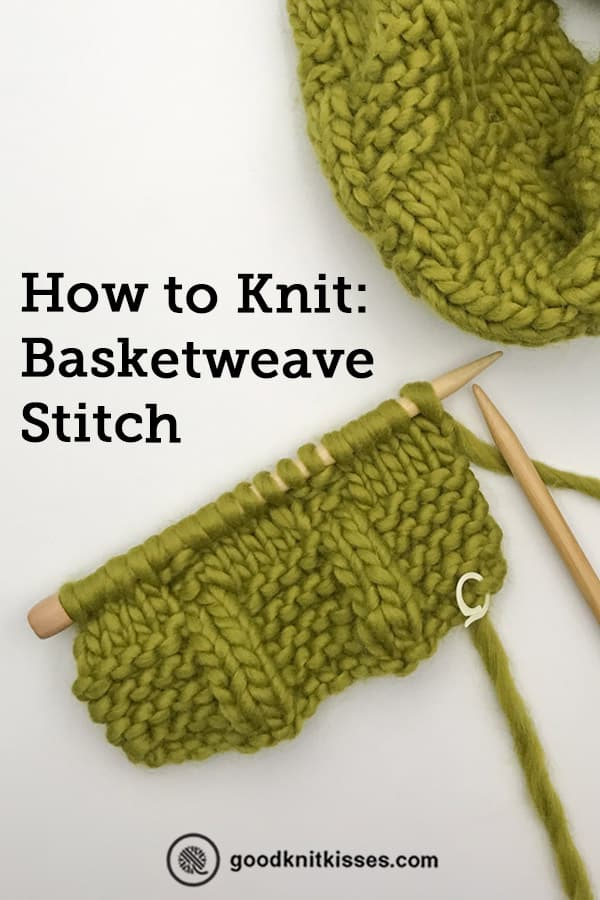 how to knit basketweave stitch pin image