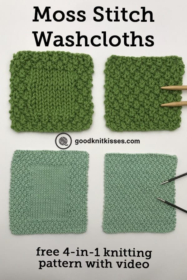 moss stitch washcloth pin image