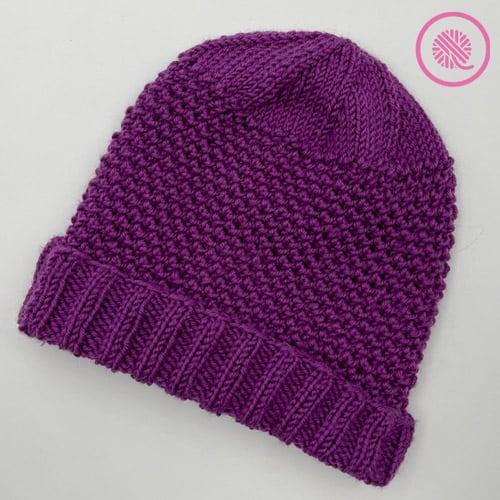 needle knit elizabeth hat with folded brim