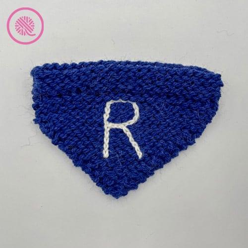 Needle knit pet bandana with monogram