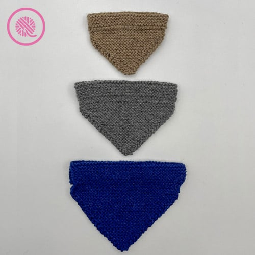 loom knit pet bandana 3 sizes shown