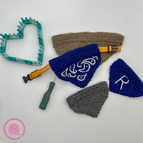 loom knit pet bandana