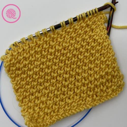 needle knit reverse edelweiss stitch flat panel