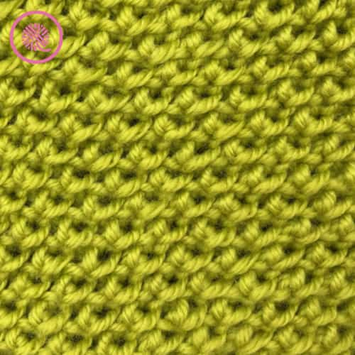loom knit reverse edelweiss stitch close up