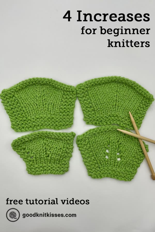 4 easy increases for beginner knitters pin image
