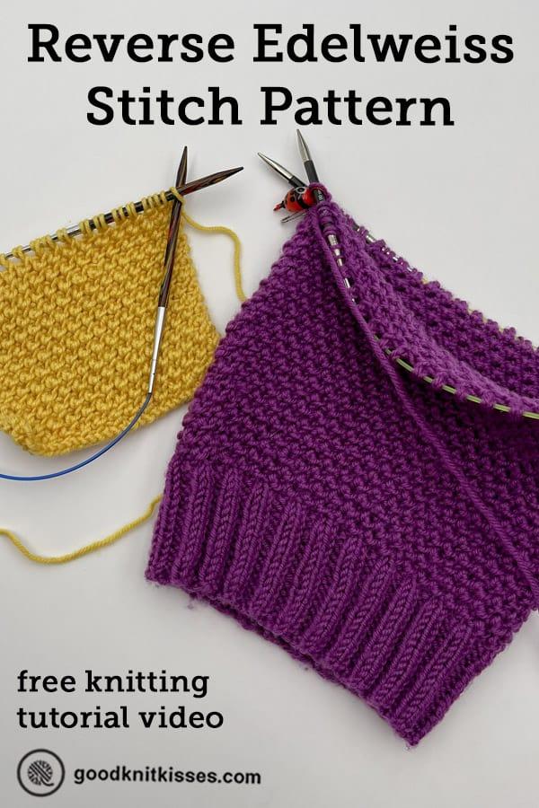 needle knit reverse edelweiss stitch pin image