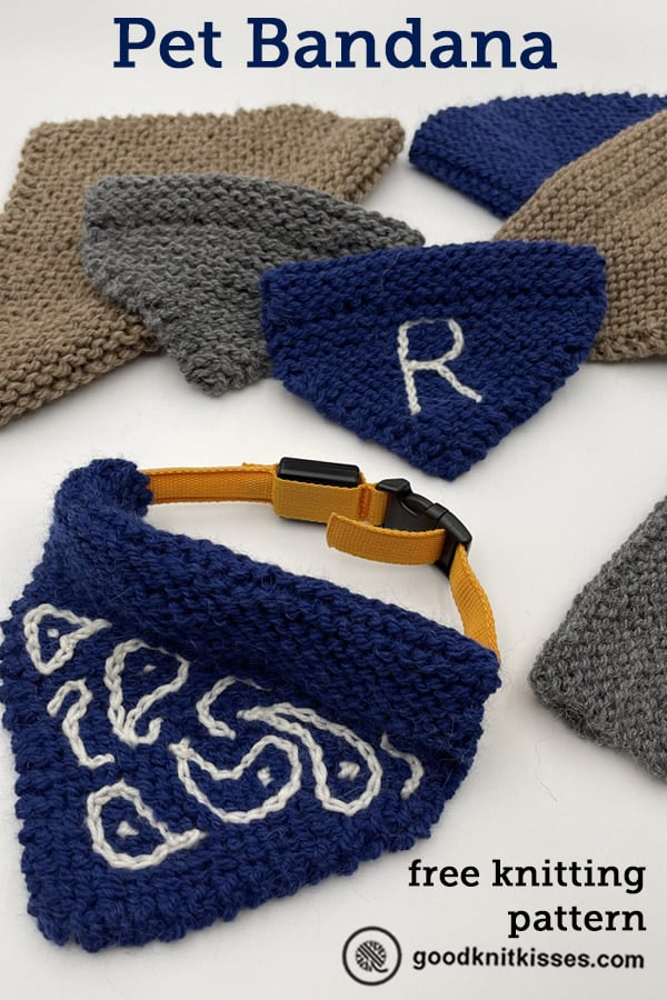 needle knit pet bandana pin image