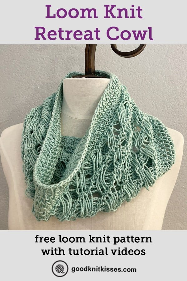 loom knit retreat cowl pin image