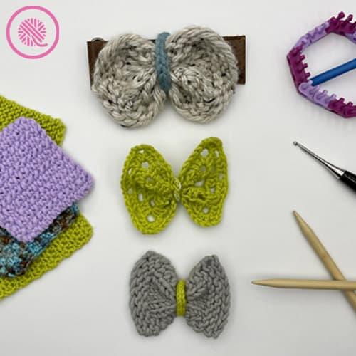 easy pet bow tie needle knit, crochet or loom knit