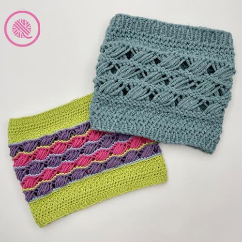loom knit retreat cowl with Mary Maxim Starlette yarns