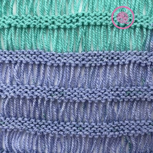 how to loom knit drop stitches garter drop stitch pattern close up