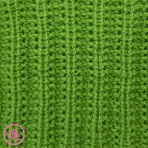 loom knit seeded mistake rib stitch close up