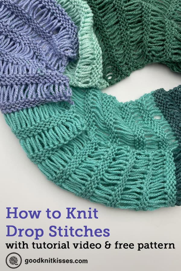 how to knit drop stitches pin image