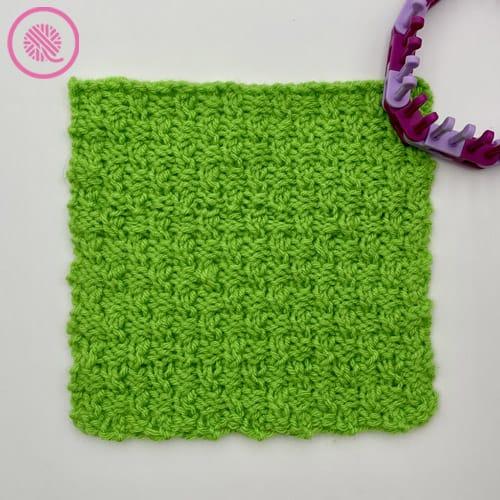 loom knit the ripple twist stitch finished square