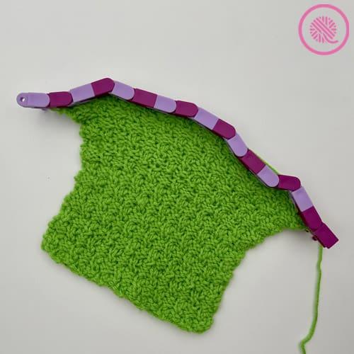 loom knit the ripple twist square in progress on loom
