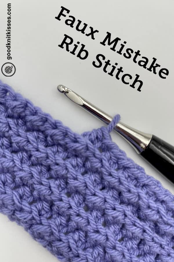crochet faux mistake rib stitch pin image