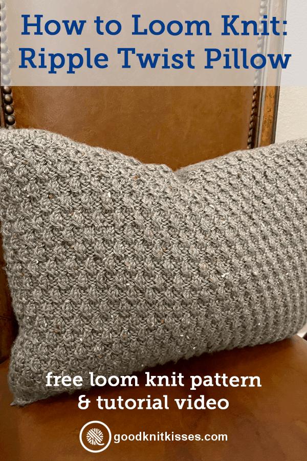 loom knit ripple twist pillow pin image