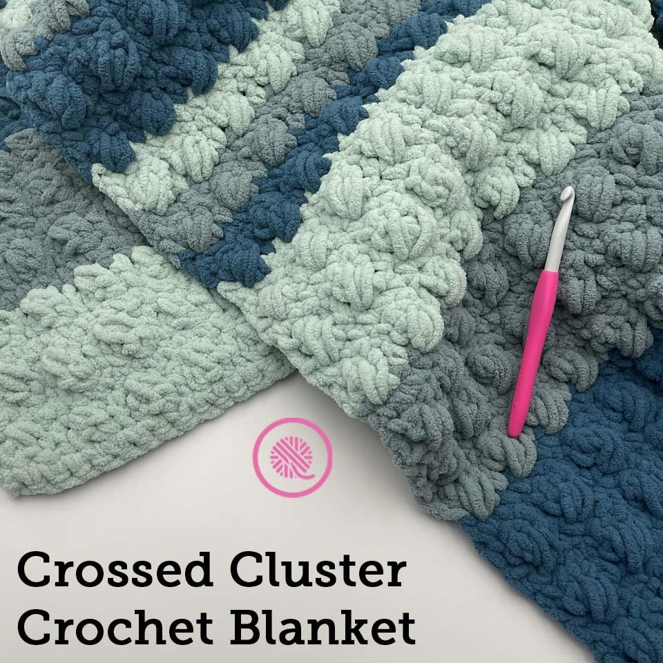crossed cluster crochet blanket