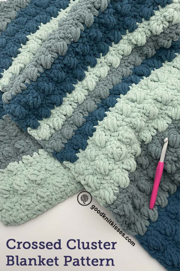 crossed cluster crochet blanket pin image